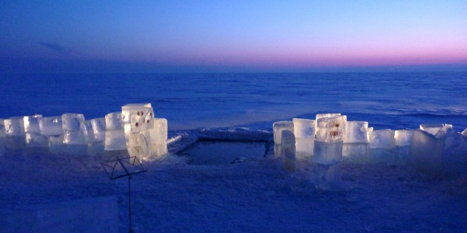 Stage for violist and soprano Virpi Räisänen on Sea ice of Hailuoto 2010